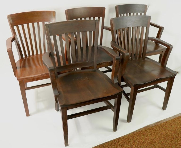 5 solid walnut office, or courthouse chairs some marked Gunkocke, some marked B.L. Marble, 4 are matched, one is very slightly different form, one is a shade lighter, as shown. Offered and priced individually, but we would love to see them stay
