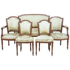 5-Piece 19th Century Carved Walnut French Salon Suite