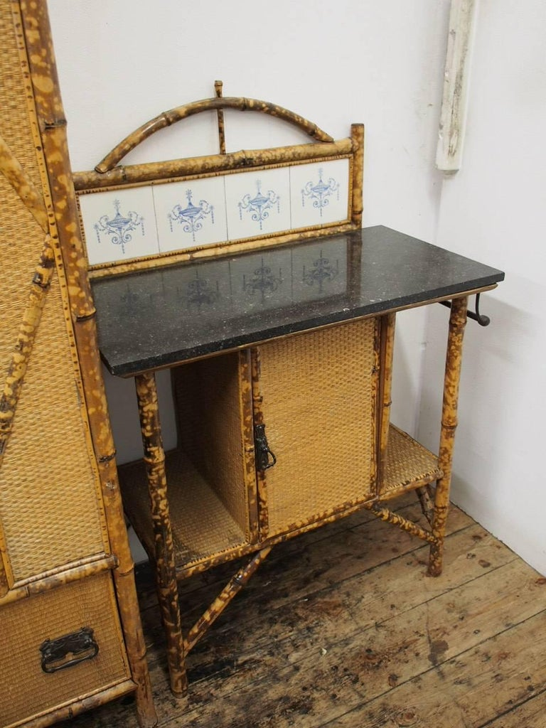 Five-Piece Bamboo and Rattan Bedroom Suite, circa 1890 For Sale 4