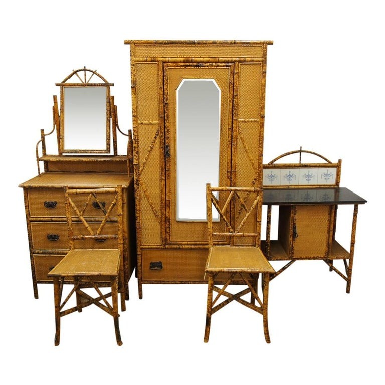 Five-Piece Bamboo and Rattan Bedroom Suite, circa 1890 For Sale