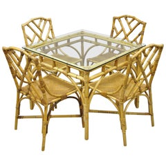 5-Piece Bamboo Rattan Faux Bamboo Chinese Chippendale Boho Chic Dining Set