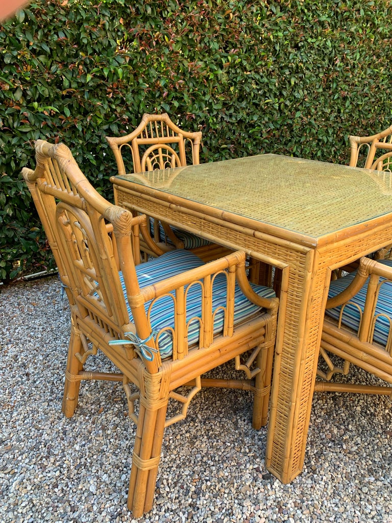 Chinese Chippendale Style Bamboo Game Dining Table and Armchairs For Sale 3