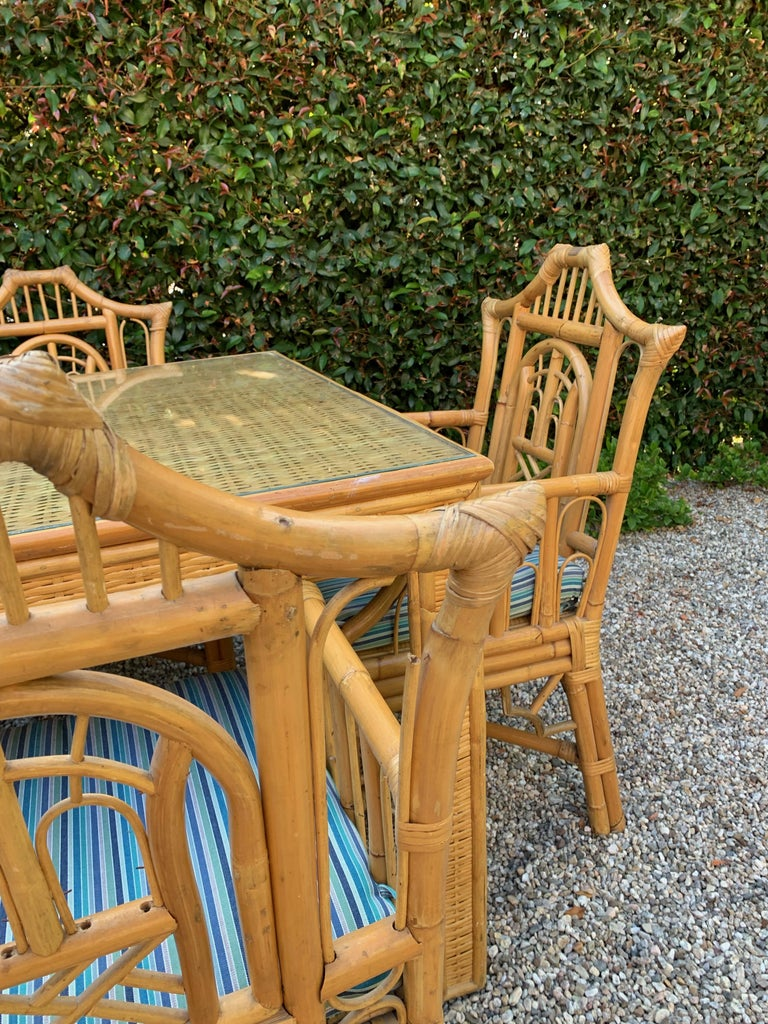 Chinese Chippendale Style Bamboo Game Dining Table and Armchairs For Sale 4