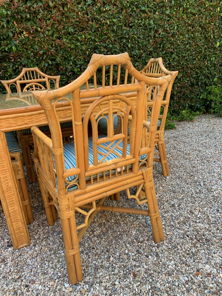 Chinese Chippendale Style Bamboo Game Dining Table and Armchairs For Sale 5