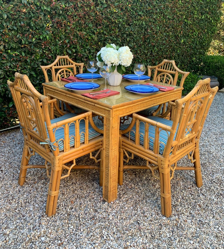 Chinese Chippendale Style Bamboo Game Dining Table and Armchairs For Sale 6