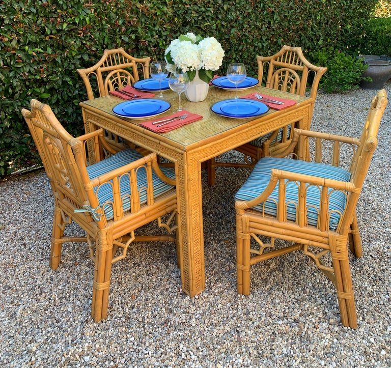 Chinese Chippendale Style Bamboo Game Dining Table and Armchairs For Sale 7