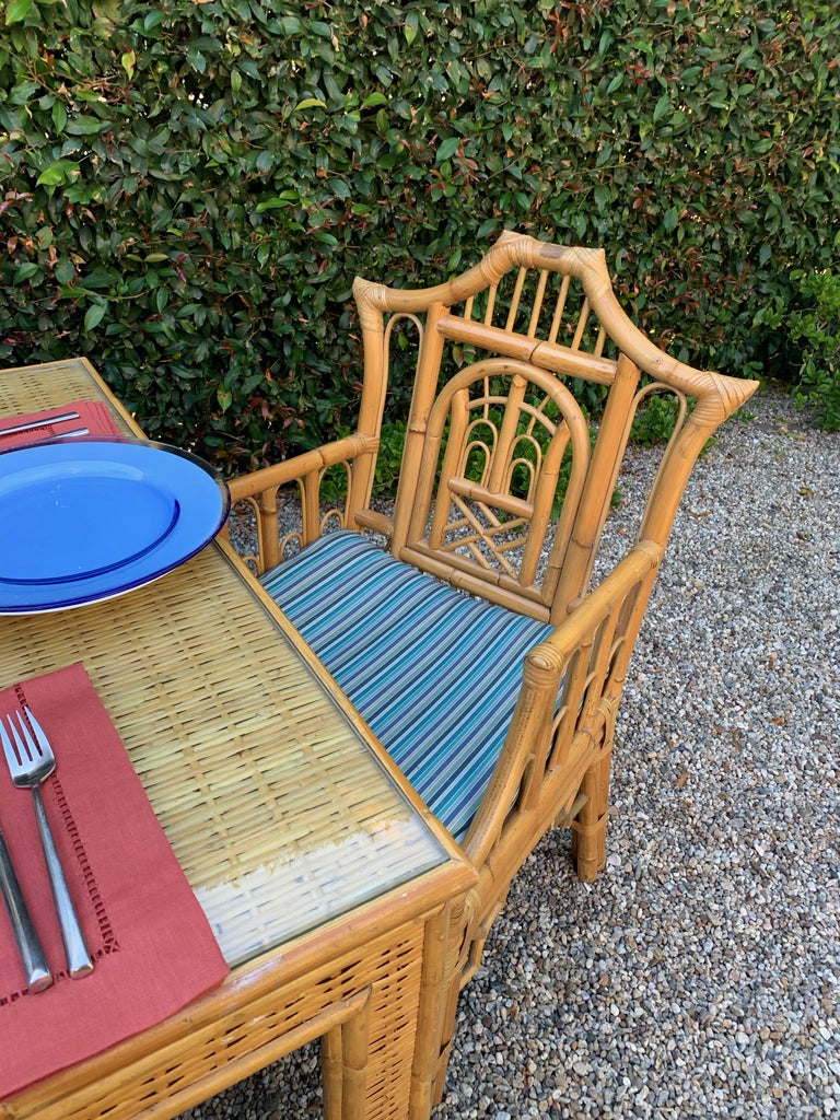 Chinese Chippendale Style Bamboo Game Dining Table and Armchairs For Sale 8