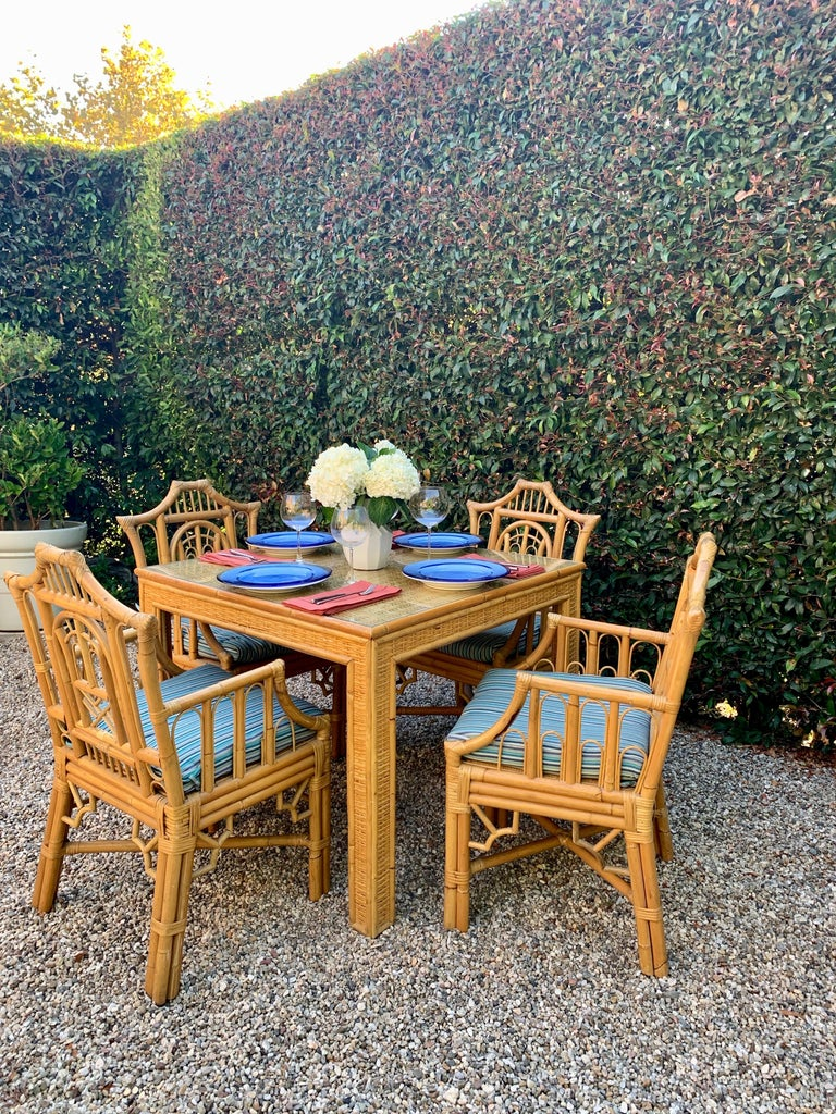 Chinese Chippendale Style Bamboo Game Dining Table and Armchairs For Sale 10