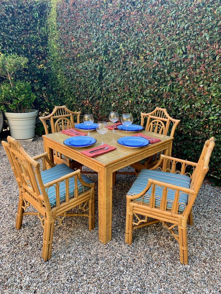Chinese Chippendale Style Bamboo Game Dining Table and Armchairs For Sale 11