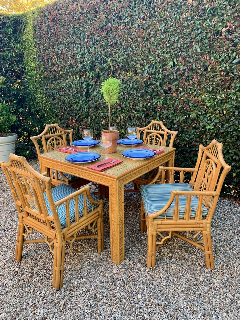 Chinese Chippendale Style Bamboo Game Dining Table and Armchairs For Sale 12