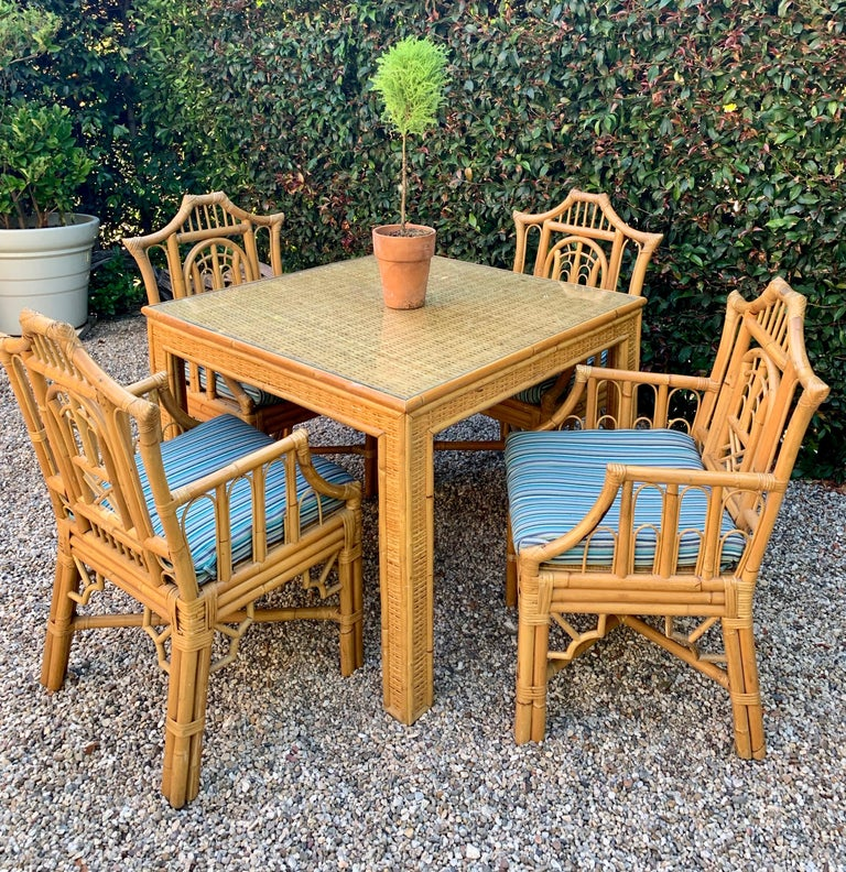 Chinese Chippendale Style Bamboo Game Dining Table and Armchairs For Sale 13
