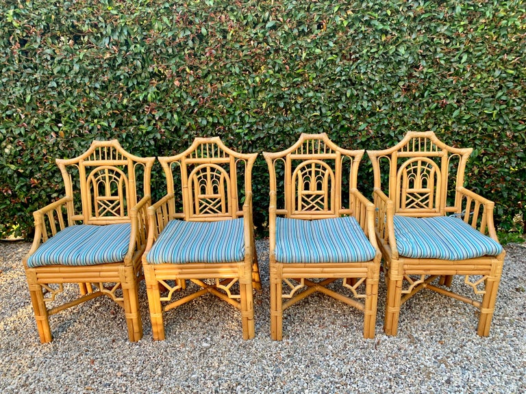 Philippine Chinese Chippendale Style Bamboo Game Dining Table and Armchairs For Sale