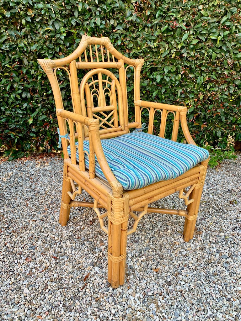 Hand-Woven Chinese Chippendale Style Bamboo Game Dining Table and Armchairs For Sale