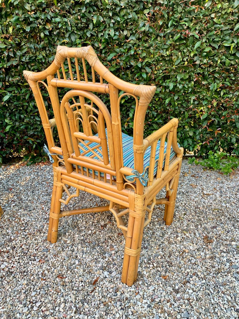 20th Century Chinese Chippendale Style Bamboo Game Dining Table and Armchairs For Sale