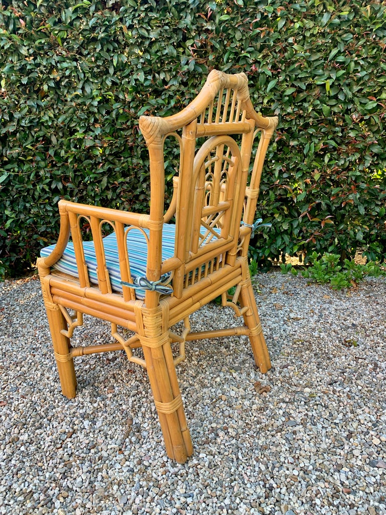 Upholstery Chinese Chippendale Style Bamboo Game Dining Table and Armchairs For Sale