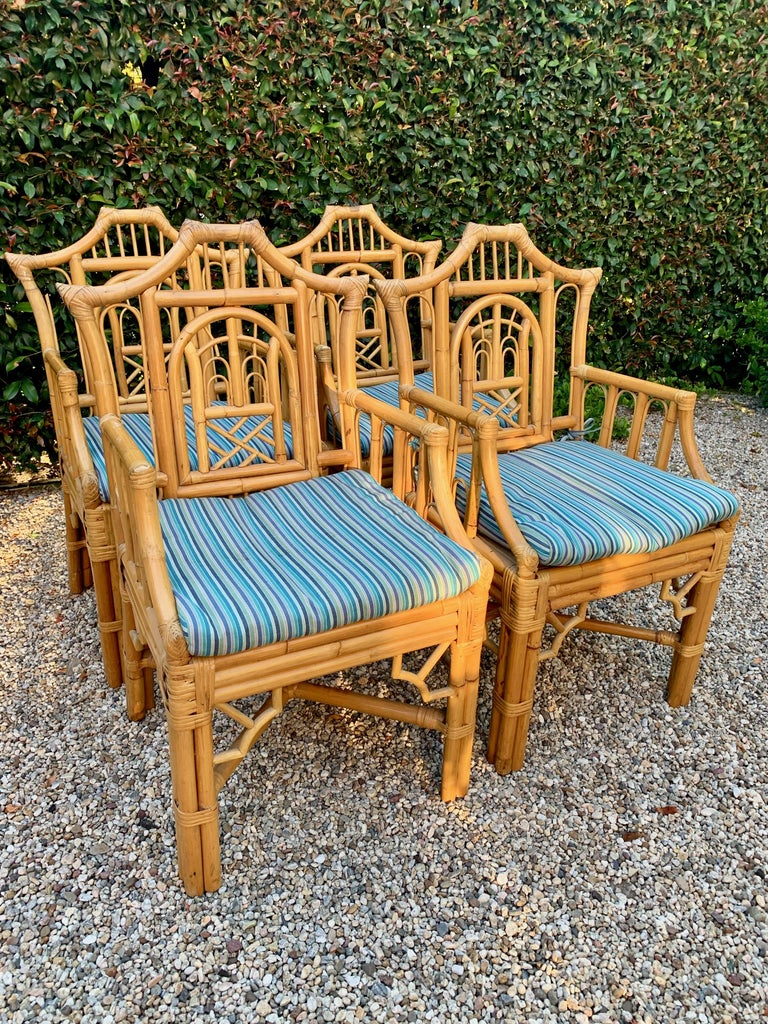 Chinese Chippendale Style Bamboo Game Dining Table and Armchairs For Sale 1