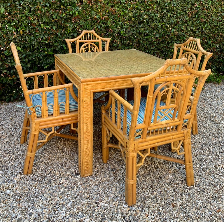 Chinese Chippendale Style Bamboo Game Dining Table and Armchairs For Sale 2