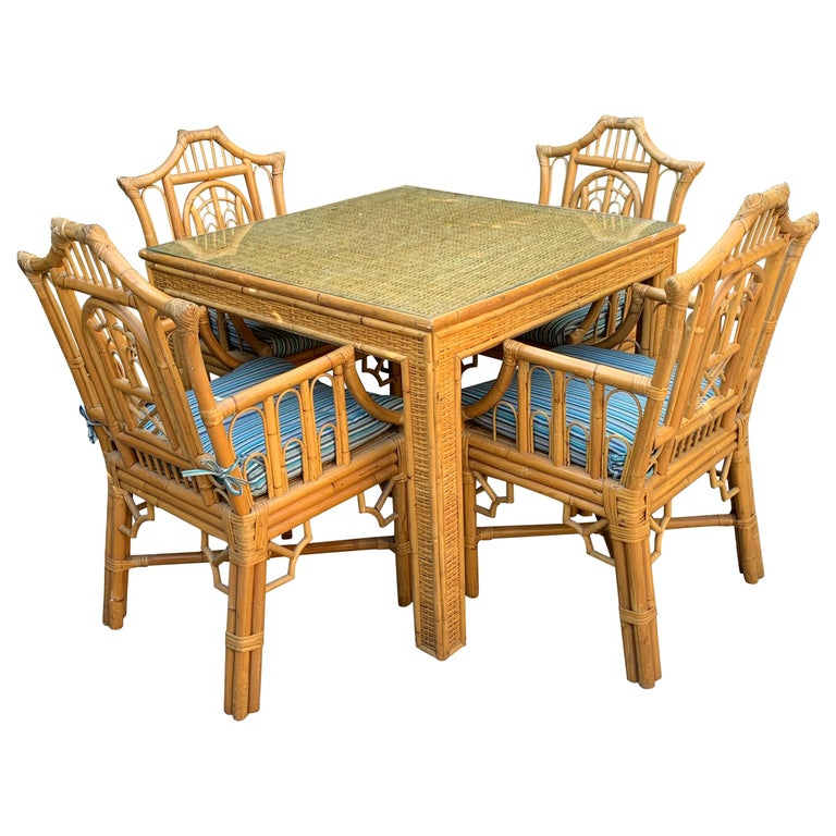 5-Piece Chinese Chippendale Style Bamboo Game Dining Table and Armchairs For Sale