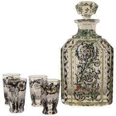 5 Piece French Art Glass and Enamel Decanter and Shot Glass Set