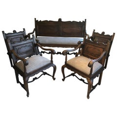 5-Piece Handsome Set of 4 French Antique Armchairs and Matching Settee Bench