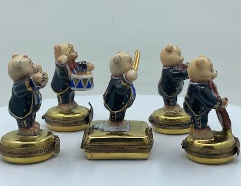 French Provincial 5 Piece Limoges France 24K Gold Porcelain Teddy Bear Orchestra Trinket Box Set For Sale