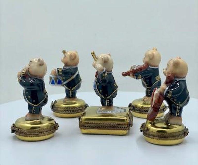 French 5 Piece Limoges France 24K Gold Porcelain Teddy Bear Orchestra Trinket Box Set For Sale