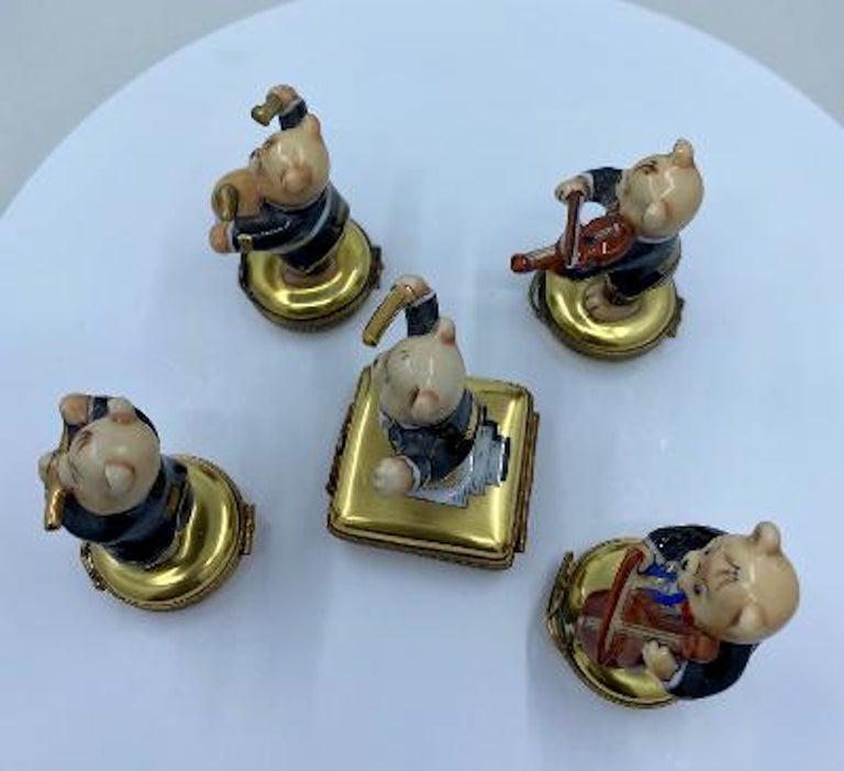 Hand-Painted 5 Piece Limoges France 24K Gold Porcelain Teddy Bear Orchestra Trinket Box Set For Sale