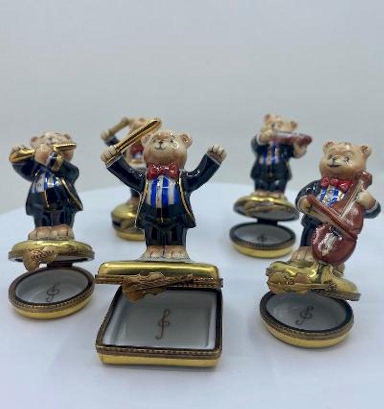 5 Piece Limoges France 24K Gold Porcelain Teddy Bear Orchestra Trinket Box Set For Sale 1