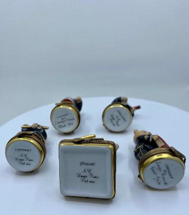 5 Piece Limoges France 24K Gold Porcelain Teddy Bear Orchestra Trinket Box Set For Sale 2