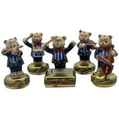 5 Piece Limoges France 24K Gold Porcelain Teddy Bear Orchestra Trinket Box Set