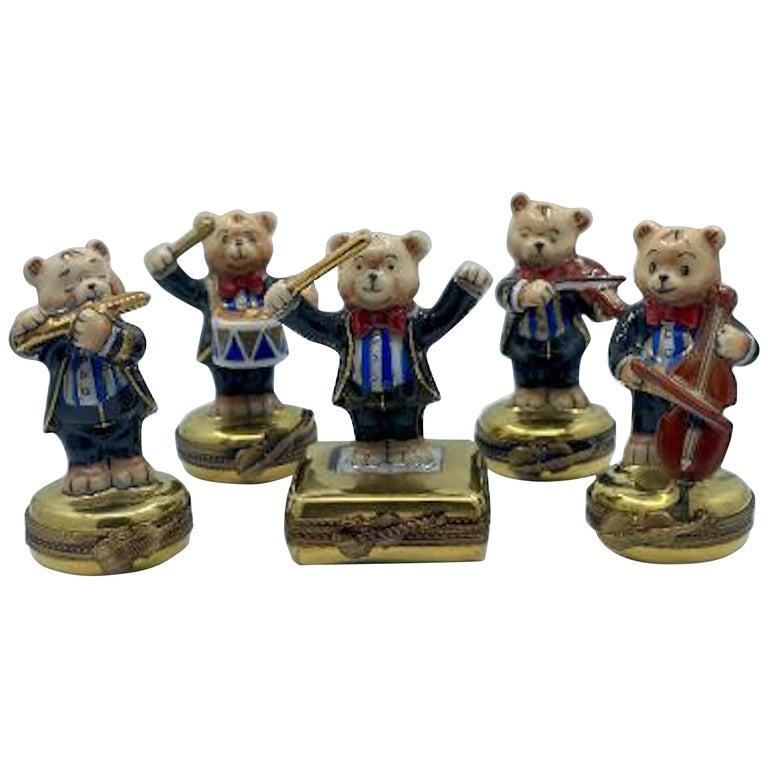 5 Piece Limoges France 24K Gold Porcelain Teddy Bear Orchestra Trinket Box Set For Sale
