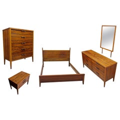5-Piece Mid-Century Modern Lane Tuxedo Rosewood Bow Tie Bedroom Dresser Set