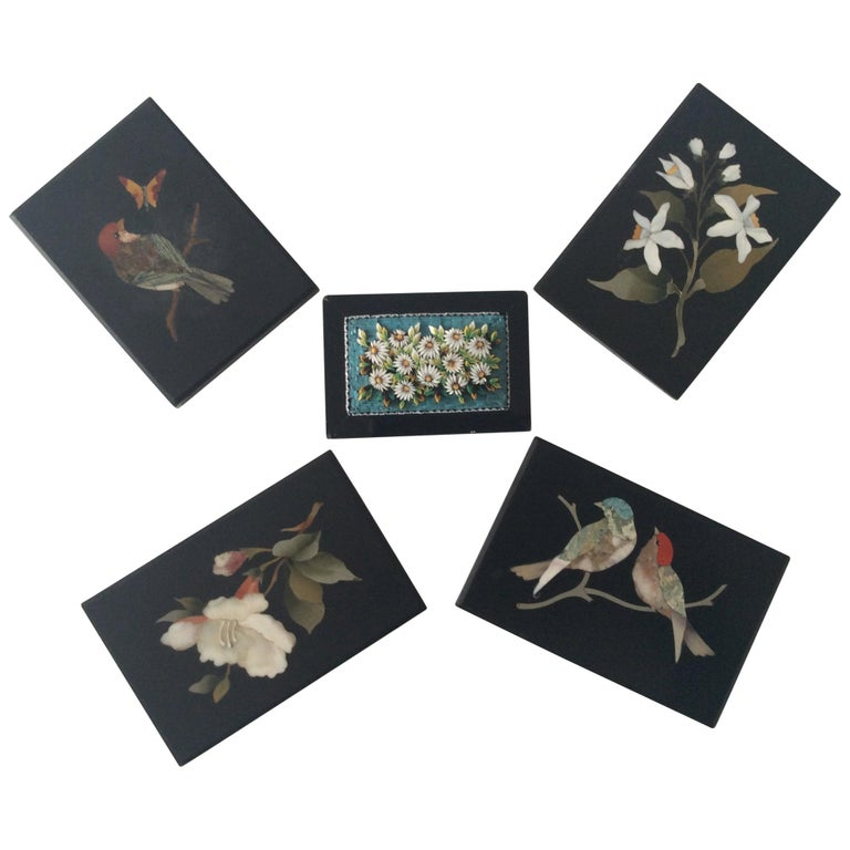 5-Piece of Paperweights Pietra Dura and Micro Mosaic For Sale