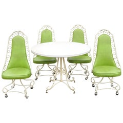 5-Piece Vintage Green Vinyl Wrought Iron Mid-Century Modern Kitchen Dining Set