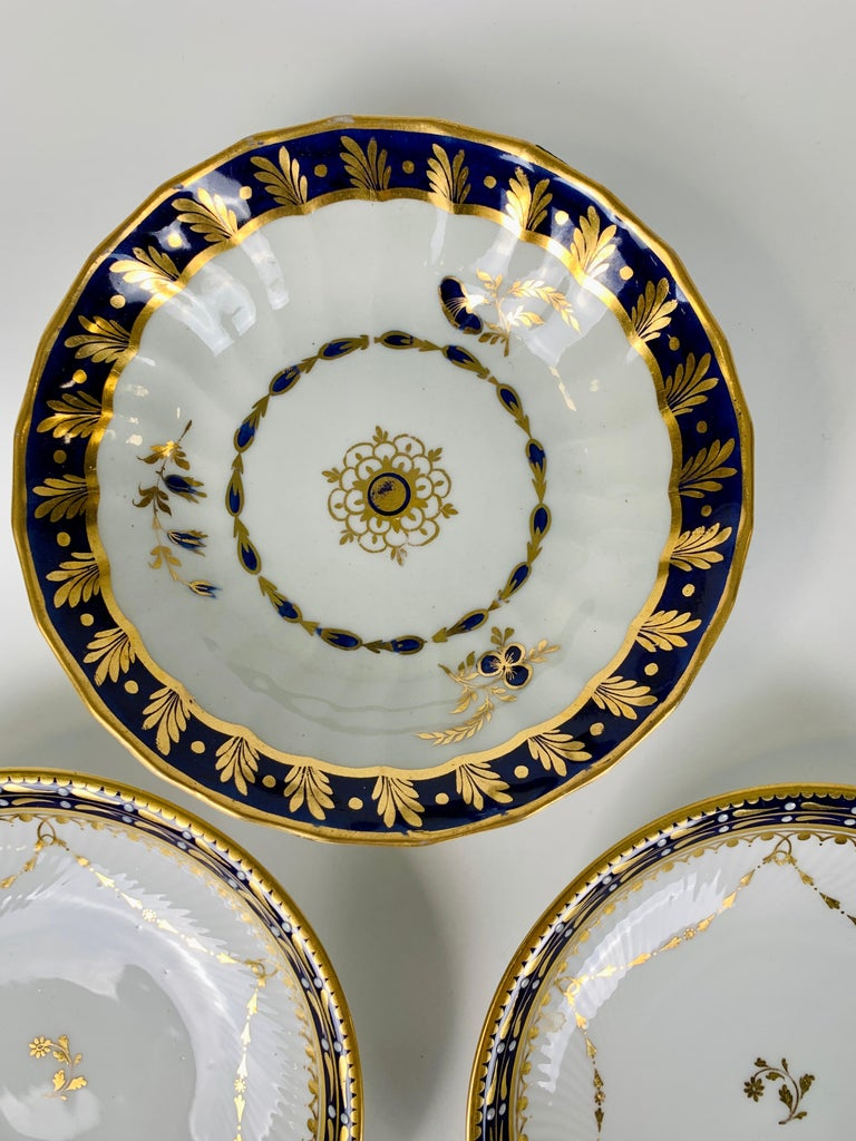 Regency 5 Porcelain Saucers with Cobalt Blue Borders Made England 19th & 20th Centuries For Sale