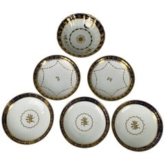 5 Porcelain Saucers with Cobalt Blue Borders Made England 19th & 20th Centuries