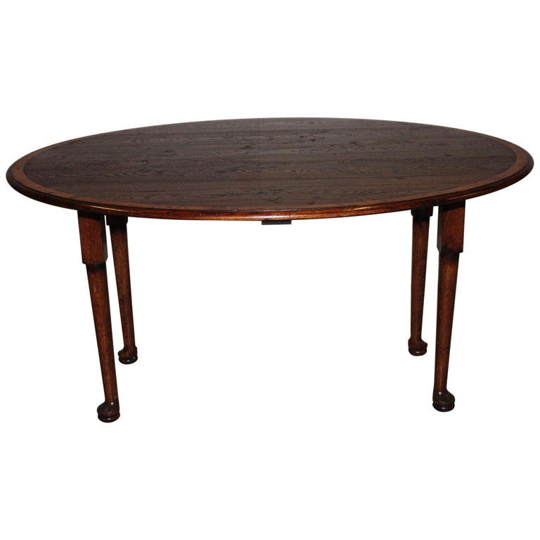 Dining Room Table For Sale: Round English Oak Banded Dining Room Table For Sale At 1stdibs