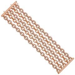 18kt Rose Gold and Diamond Chain Link Bracelet