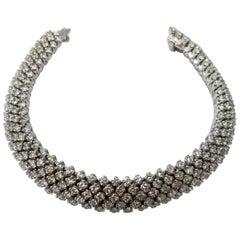 5-Row Diamond Flexible Bracelet in 18 Karat Gold and 9.05 Carat of Diamonds