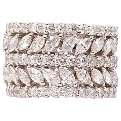 5-Row Marquise and Round Diamond Wedding Band