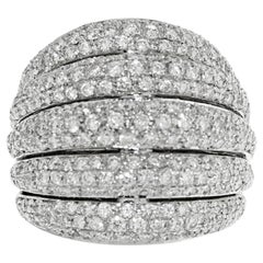 5-Row Pave Diamond and 18 Karat Gold Cocktail Ring
