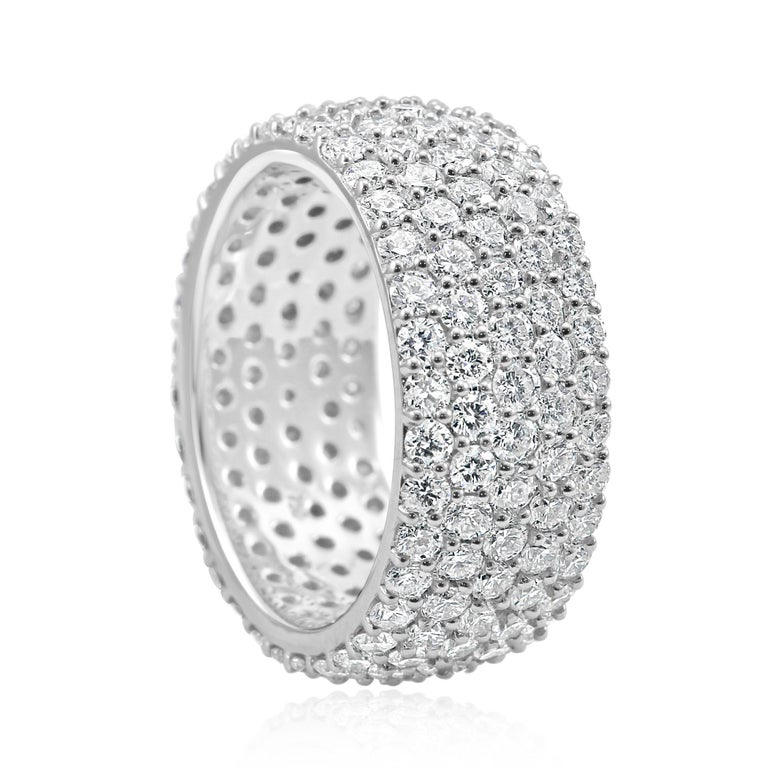 Stunning 5 Rows of 170 White G-H Color SI Clarity Diamond Rounds 4.00 Carat in beautiful 18K White Gold Dome Fashion Cocktail Eternity Band Ring .  Total Diamond Weight 4.00 Carat  Style available in different price ranges and with different center