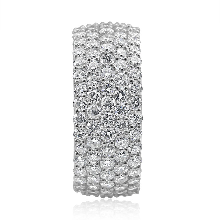 Modern 5-Row White Round Diamond 18K Gold Dome Fashion Cocktail Eternity Band Ring For Sale