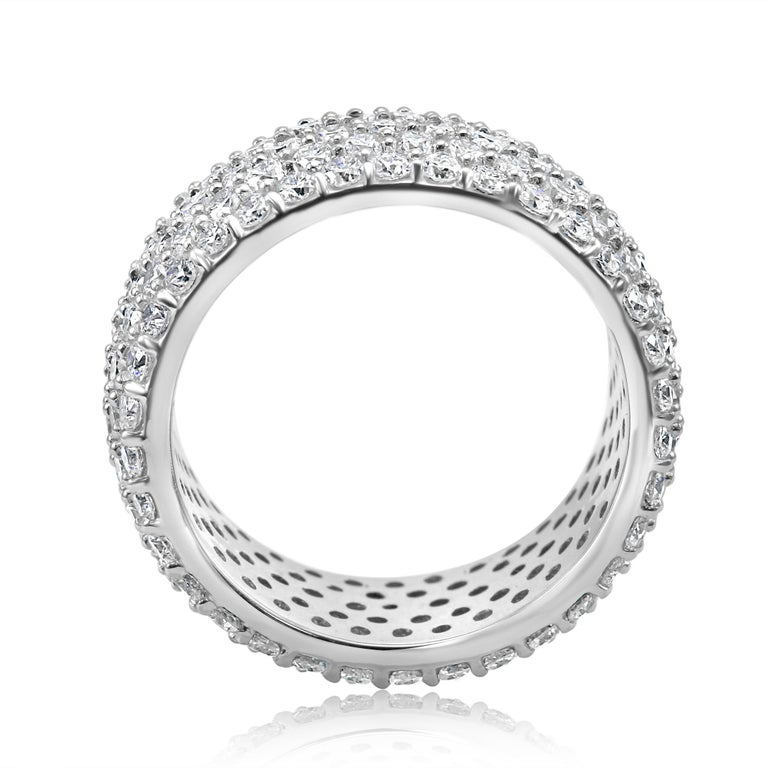 Round Cut 5-Row White Round Diamond 18K Gold Dome Fashion Cocktail Eternity Band Ring For Sale