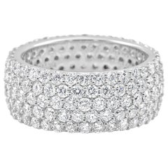 5-Row White Round Diamond 18K Gold Dome Fashion Cocktail Eternity Band Ring