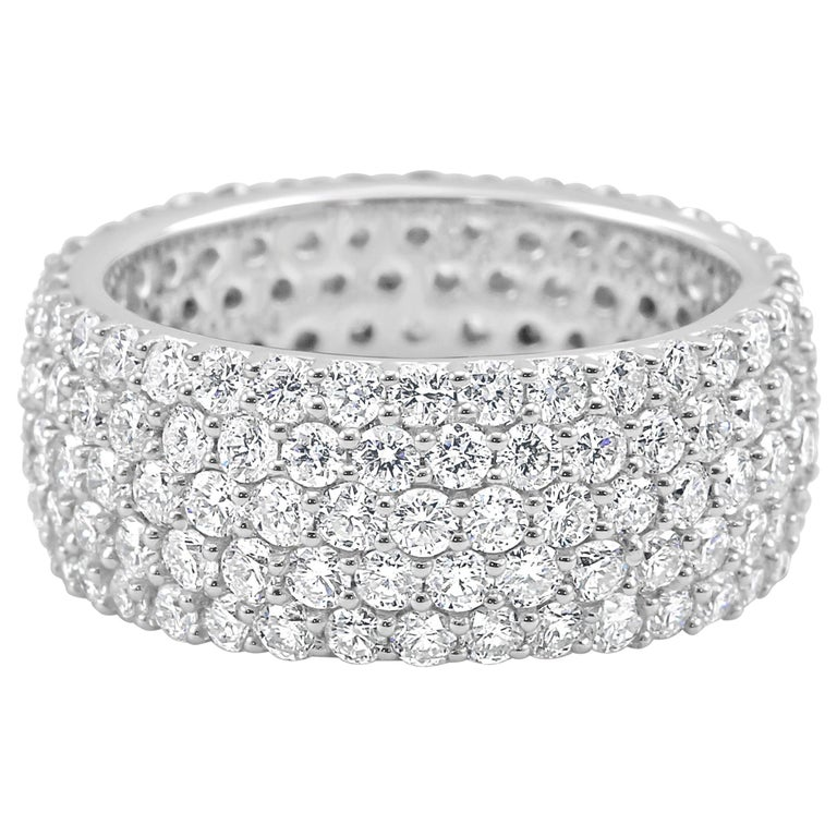 5-Row White Round Diamond 18K Gold Dome Fashion Cocktail Eternity Band Ring For Sale