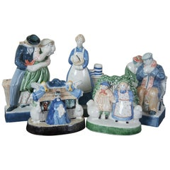 5 Rye Pottery England Porcelain Figurines Lovers Pastry Nativity Shepard Sailor