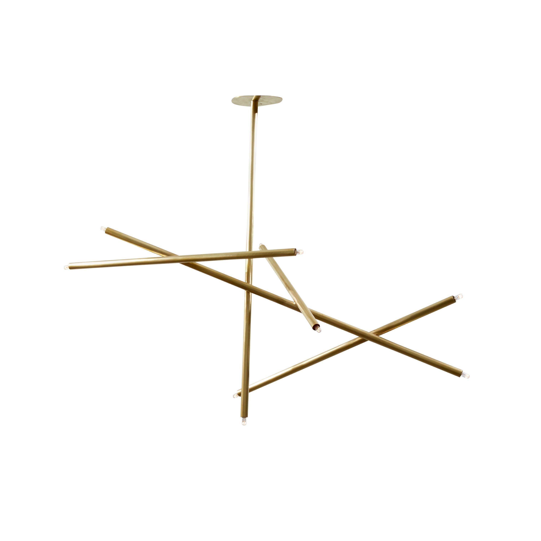 5-Stick Vertical Chandelier in Brass by Cam Crockford