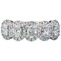 5-Stone 14 Karat White Gold 1.02 Carat Oval Diamond Eternity Band