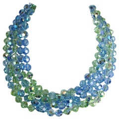 5 Strand Blue Green Crystal Bib Necklace New, Never worn 1990s
